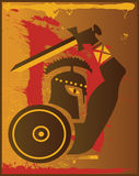 Roman Warrior Bloodshed. Roman Warrior In Brown With Blood Stock Photos
