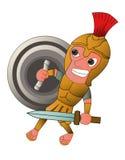 Roman Warrior Cartoon com desenhos animados da espada e do protetor Imagens de Stock Royalty Free