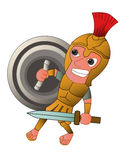 Roman Warrior Cartoon with Sword and Shield Cartoon Royalty Free Stock Images