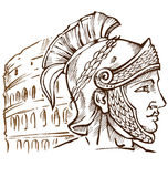 Roman warrior on colosseum. Background Stock Photography