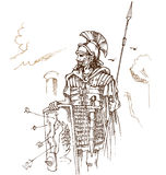 Roman warrior hand draw. On background Stock Images