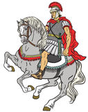 Roman warrior riding the horse. Isolated on white royalty free illustration