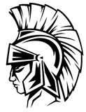 Roman warrior vector. Spartan warrior black and white profile - ancient soldier wearing a helmet