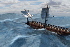Roman Warship in mare Immagini Stock