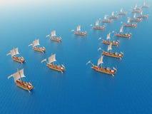 Roman Warships antiguo Foto de archivo libre de regalías