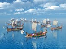 Roman Warships antiguo Imagen de archivo libre de regalías