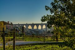Roman water aqueduct in lisbon, Portugal. Royalty Free Stock Photo