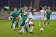 Roman Zozulya is blocking the ball Royalty Free Stock Photos