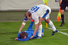 Roman Zozulya lifts his opponent after collision Stock Photos