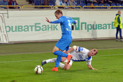 Roman Zozulya makes the tackle Stock Photography