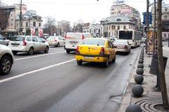 Romana方形的繁忙的交通 免版税库存照片