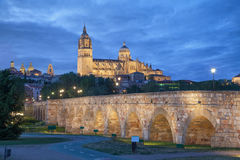Romana Bridge with New Cathedral in Salamanca Royalty Free Stock Photos