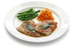 Romana do alla de Saltimbocca, culinária italiana Imagem de Stock