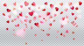 Romance лепестки розы сердец влюбленности прозрачные Стоковая Фотография