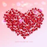 Romance поздравительная открытка лепестков розы сердец влюбленности Стоковая Фотография RF