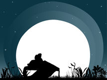 Romance. Illustration of couple sitting back to back on bench in moonlight royalty free illustration