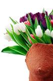 Romance. Bouquet of colorful tulips in ceramic form Stock Images