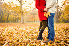 Romance in autumn in park Royalty Free Stock Image