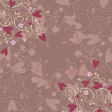 Romance background. With flowers and hearts Royalty Free Illustration