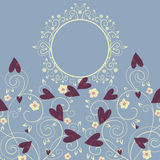 Romance background. With flowers and hearts Stock Illustration