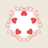 Romance background for Valentine Day card with hearts and monogr. Ams element Royalty Free Stock Image