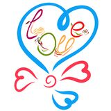 Romance, Balloon in the shape of heart with the inscription LOVE. A word from the flexible lady vector illustration