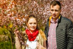 Happy couple having romantic date in park Royalty Free Stock Images