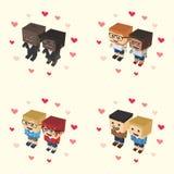 Romance block isometric cartoon character Royalty Free Stock Photography
