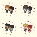 Romance block isometric cartoon character Royalty Free Stock Photos