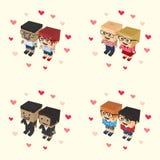 Romance block isometric cartoon character Stock Images