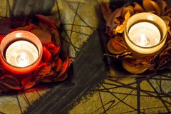Romance with candles. Few candles in the table with romantic atmosphere Stock Photography