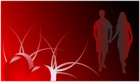 Romance Card. Red background , vector Stock Photography