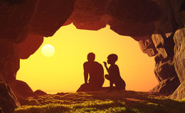 Romance in the cave. Stock Photo