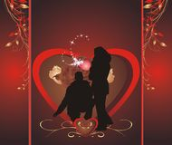 Romance composition. Wrapping for candies. Silhouettes of woman and man. Romance composition. Wrapping for candies. Vector Stock Photography