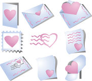 Romance correspondence. Icons, feature hearts and the mail. Perfect for valentine's and communicating love Stock Photos