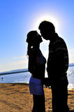 Romance couple. Photo taking in Beach Stock Images