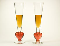 Romance for couples. Romantic champaigne glasses isolated on white background Royalty Free Stock Photos