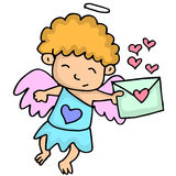 Romance cupid with latter cartoon Royalty Free Stock Photography