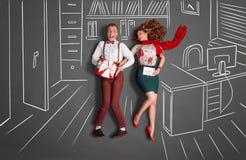 Romance del lugar de trabajo Imágenes de archivo libres de regalías