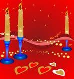 Romance dell'indicatore luminoso della candela dei biglietti di S. Valentino Fotografie Stock Libere da Diritti