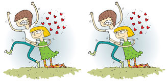 Romance Differences Visual Game. Task: find 10 differences! Solution in hidden layer ( file only). Illustration is in eps8  mode Royalty Free Stock Images