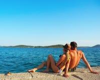 Romance durch das Meer Lizenzfreie Stockfotografie