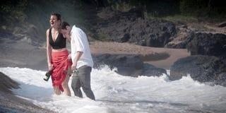 Romance Engagement Couple Love Beach Ocean Lovers Relationship stock image