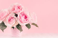 Romance festive home interior - delicate pastel pink flowers on white wooden table, copy space. Romance festive home interior - delicate pastel pink flowers on stock images