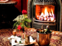 Romance by the Fire Stock Image