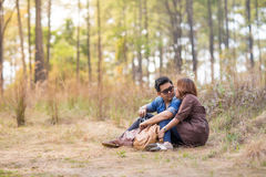 Romance in forest Stock Photo