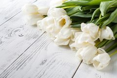 Romance gift, white tulips on bright wooden background Royalty Free Stock Photo