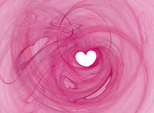 Romance heart. Valentines heart shape, saturated pink swirl over white Royalty Free Stock Photo