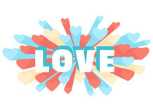 Romance heart spray LOVE greeting card or invitation Stock Images