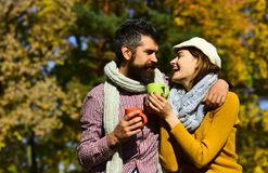 Romance and hot beverage concept. Couple in love royalty free stock photo